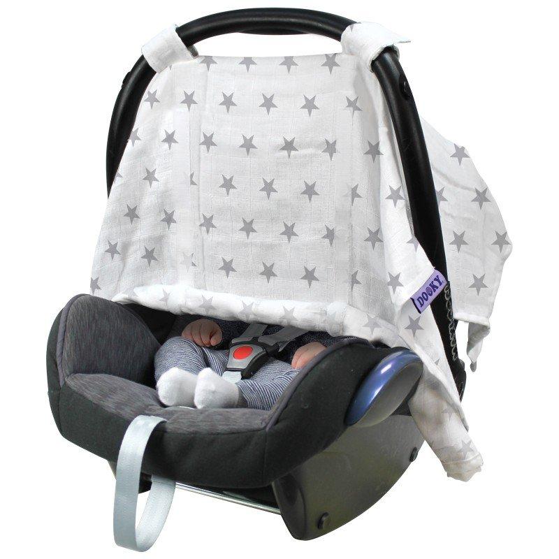 DookyClona Car Seat Canopy Silver Stars