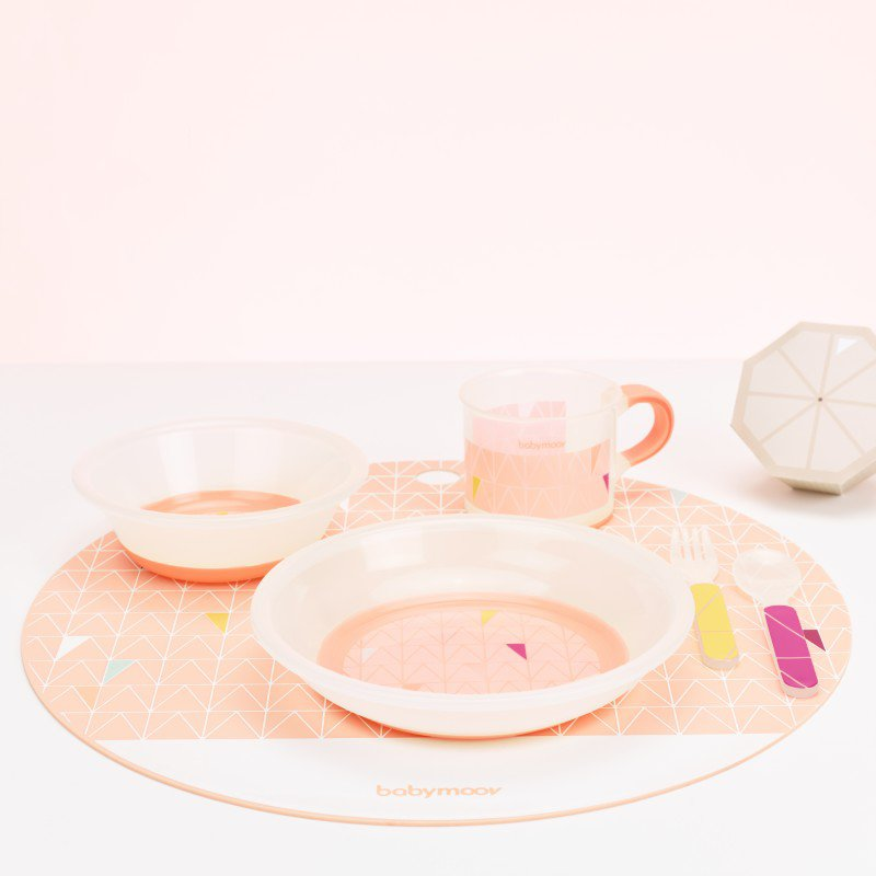 Babymoov jídelní sada ANTI-SLIP Peach