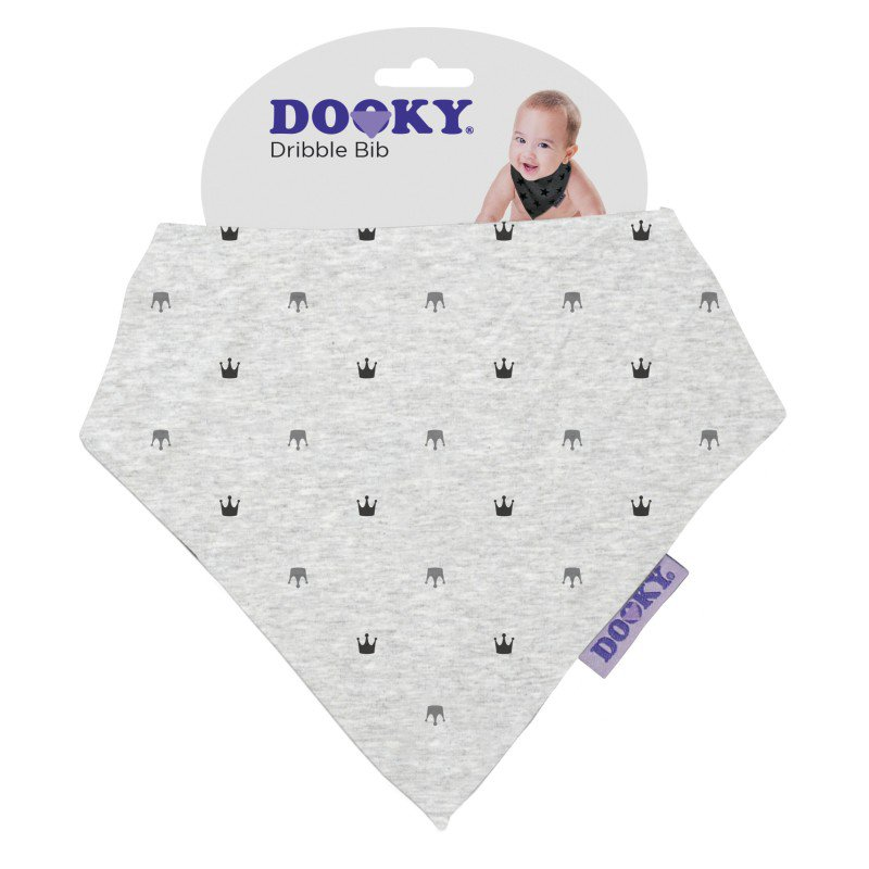 Produkt - Bryndáček Dribble Bib Light Grey Crowns