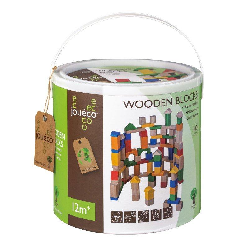 Jouéco dřevěné kostky v kyblíku 100ks 12m+