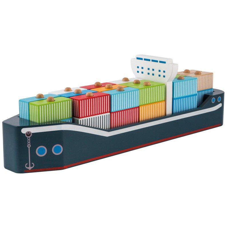 Jouéco dřevěná kontejnerová loď 34ks 24m+