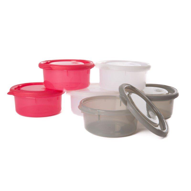 Misky s víčky Bowls Pink/White/Grey 300ml (6ks)