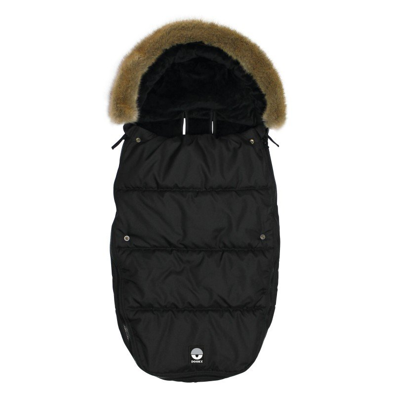 Footmuff vel. L BLACK FURRY DeLuxe