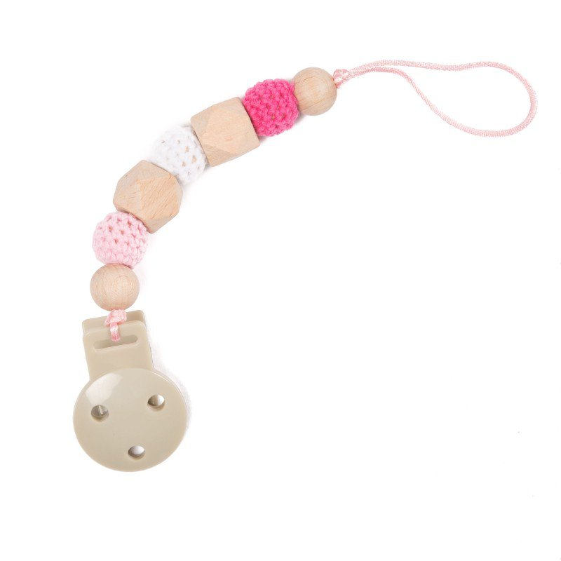 Bo Jungle řetízek na dudlík B-PACIFIER WOOD Pink