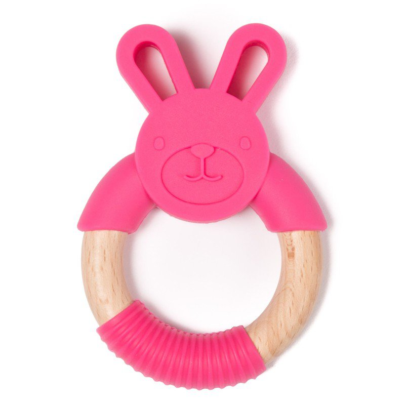 Bo Jungle kousátko B-TEETHER ANIMAL WOOD Pink Rabbit