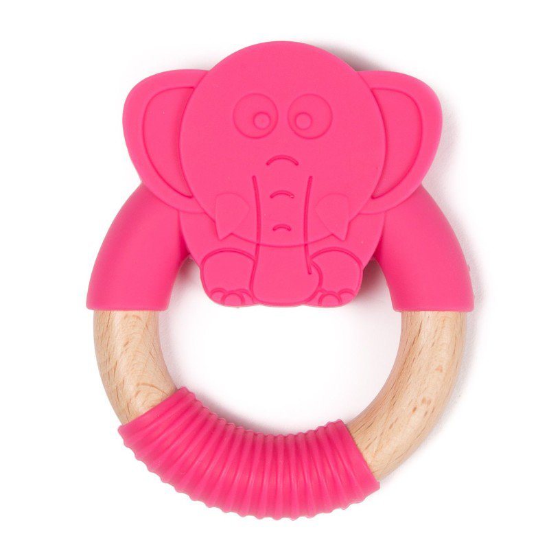 Bo Jungle hryzátko B-TEETHER ANIMAL WOOD Pink Elephant