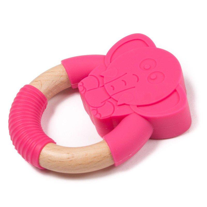 Bo Jungle kousátko B-TEETHER ANIMAL WOOD Pink Elephant