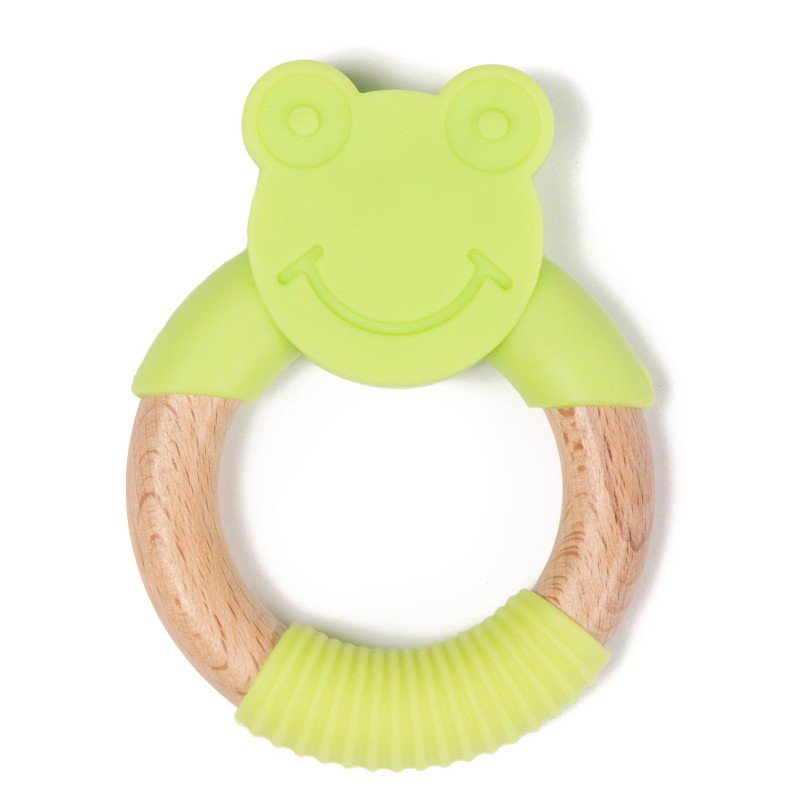 Bo Jungle kousátko B-TEETHER ANIMAL WOOD Green Frog