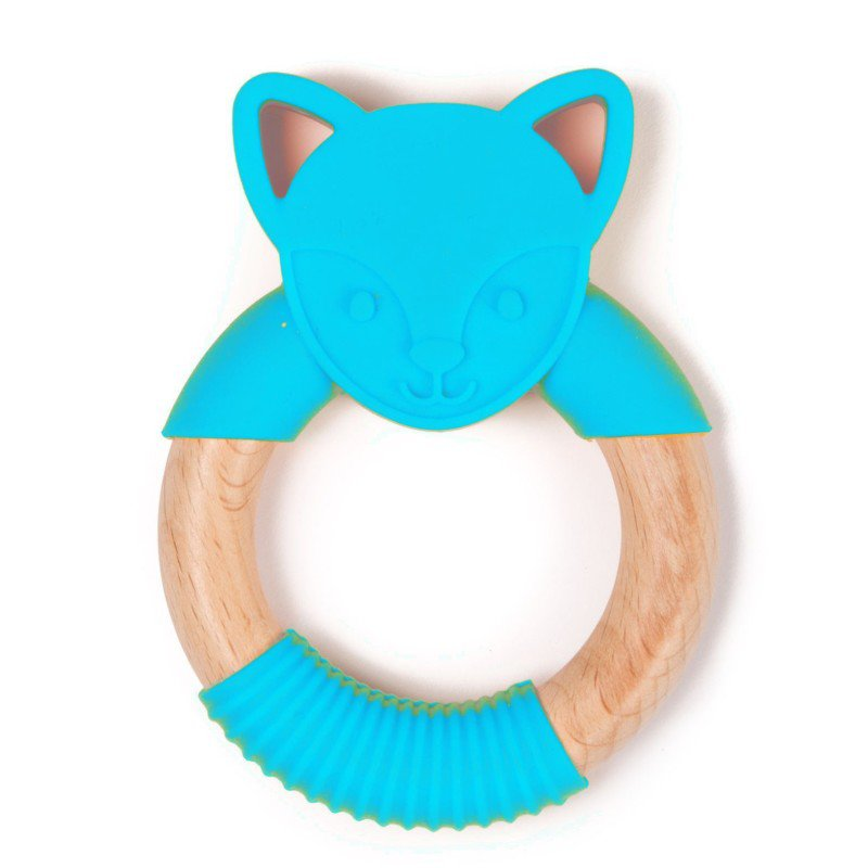 Bo Jungle kousátko B-TEETHER ANIMAL WOOD Blue Fox