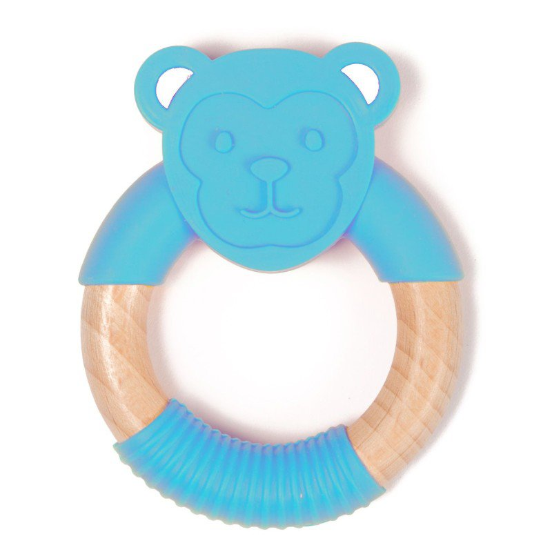 Bo Jungle kousátko B-TEETHER ANIMAL WOOD Blue Monkey