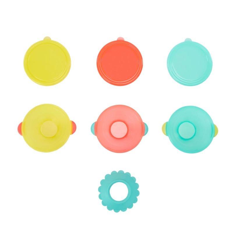 Sada 3ks misek s víčky a přísavkou Tyrkys/Orange/Yellow