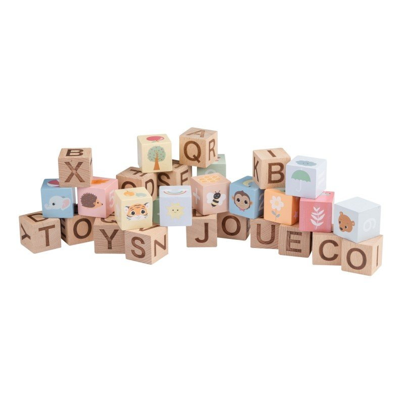 Jouéco the Wildies Family dřevěné kostky Abeceda 30ks se sáčkem 12m+