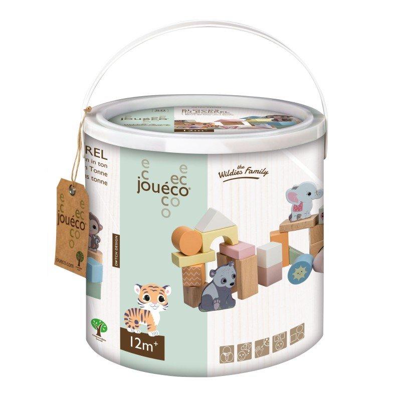 Jouéco the Wildies Family dřevěné kostky v kyblíku 50ks 12m+