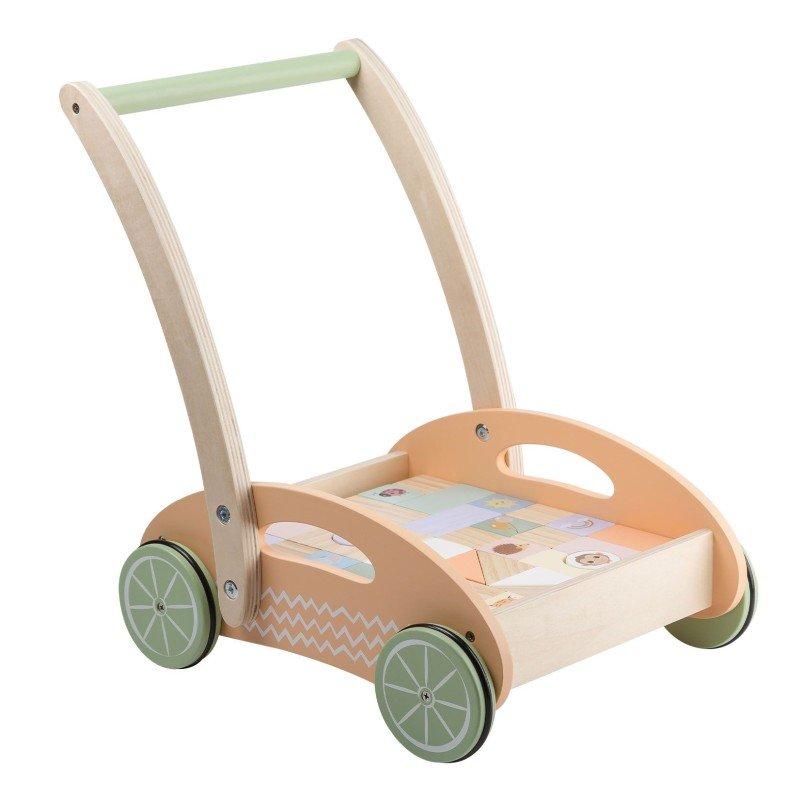 Jouéco the Wildies Family dřevěný vozíček s kostkami 12m+