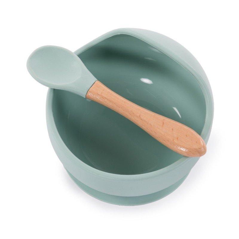 Bo Jungle silikonová miska s přísavkou a lžičkou Pastel Blue