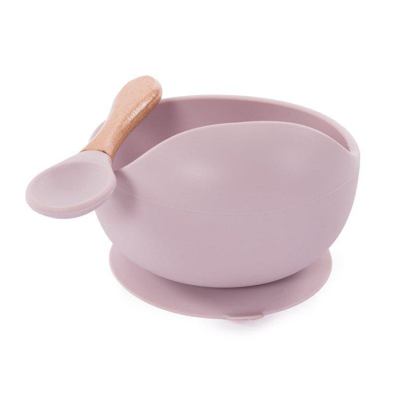 Bo Jungle silikonová miska s přísavkou a lžičkou Pastel Pink