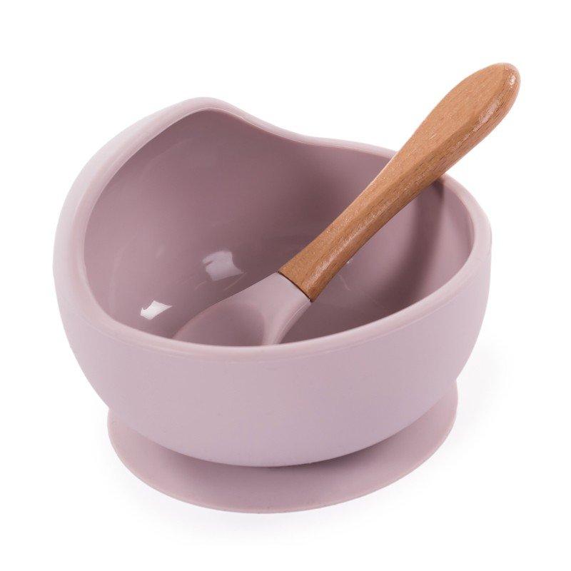 Bo JungleSilikonová miska s přísavkou a lžičkou Pastel Pink