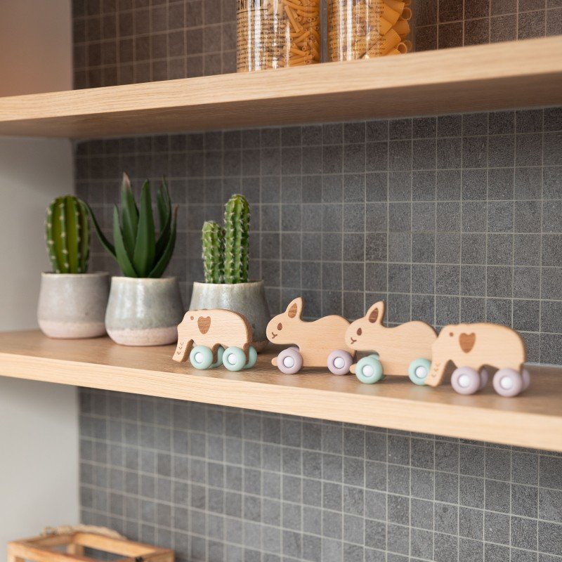 Bo Jungle dřevěná hračka B-WOODY Rabbit Pastel Pink