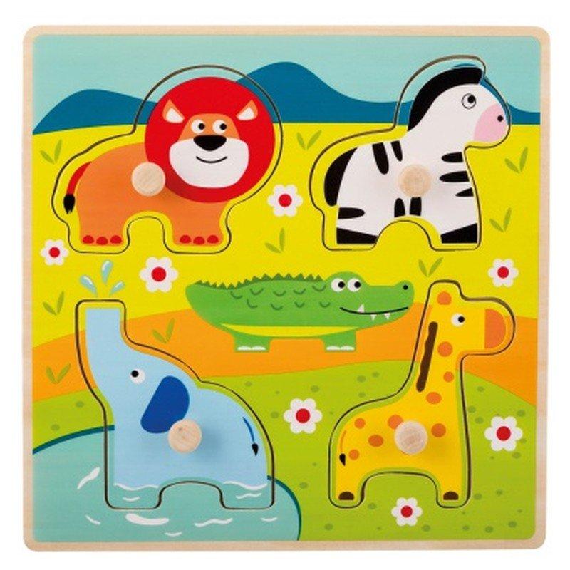 Jouéco dřevěné puzzle s úchyty Zvířátka v ZOO 12m+