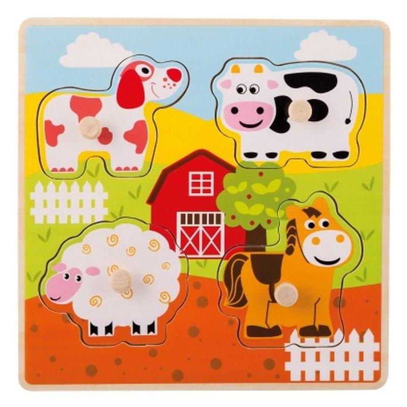 Jouéco dřevěné puzzle s úchyty Domácí zvířátka 12m+