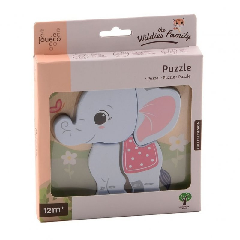 Jouéco The Wildies Family dřevěné mini puzzle Elephant 12m+