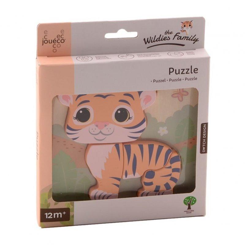 Jouéco The Wildies Family dřevěné mini puzzle Tiger 12m+