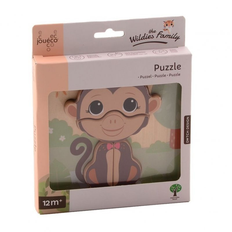Jouéco The Wildies Family dřevěné mini puzzle Monkey 12m+