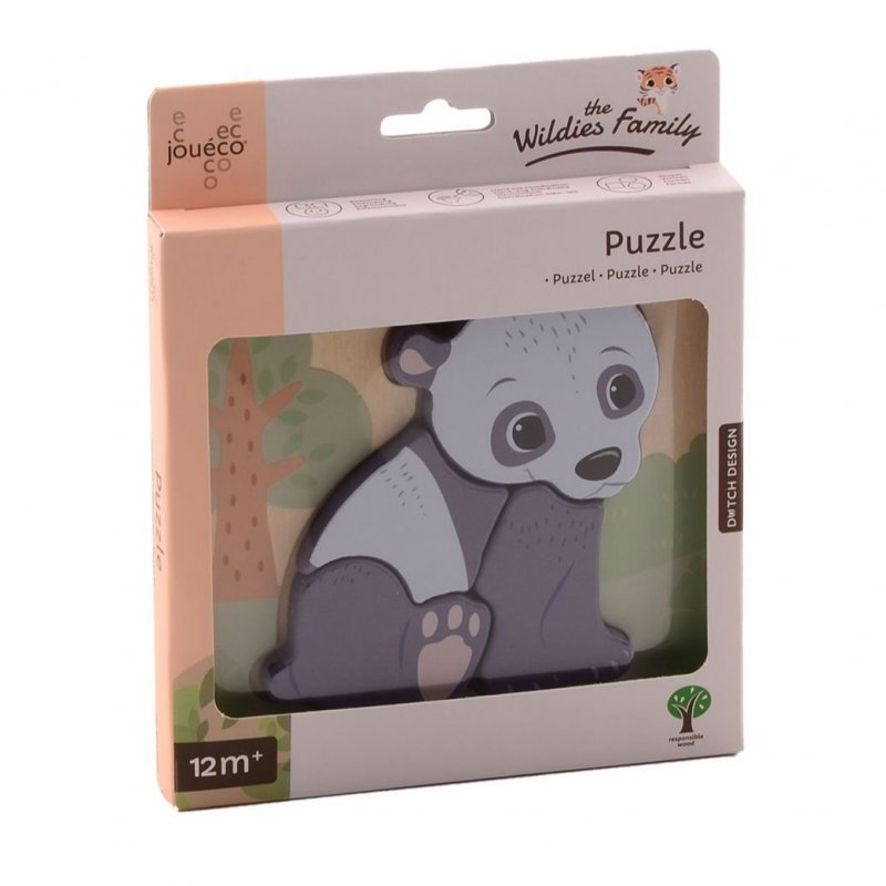Jouéco The Wildies Family dřevěné mini puzzle Bear 12m+