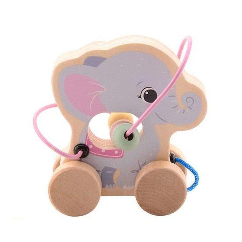 Jouéco The Wildies Family dřevěná hračka s labyrintem Elephant 12m+
