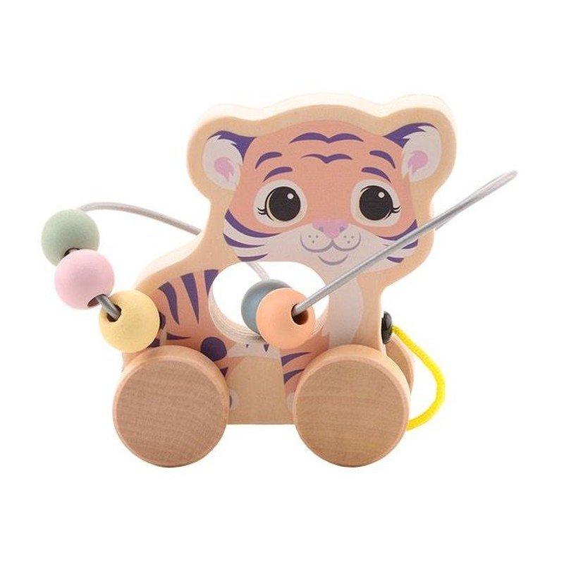 Jouéco The Wildies Family dřevěná hračka s labyrintem Tiger 12m+