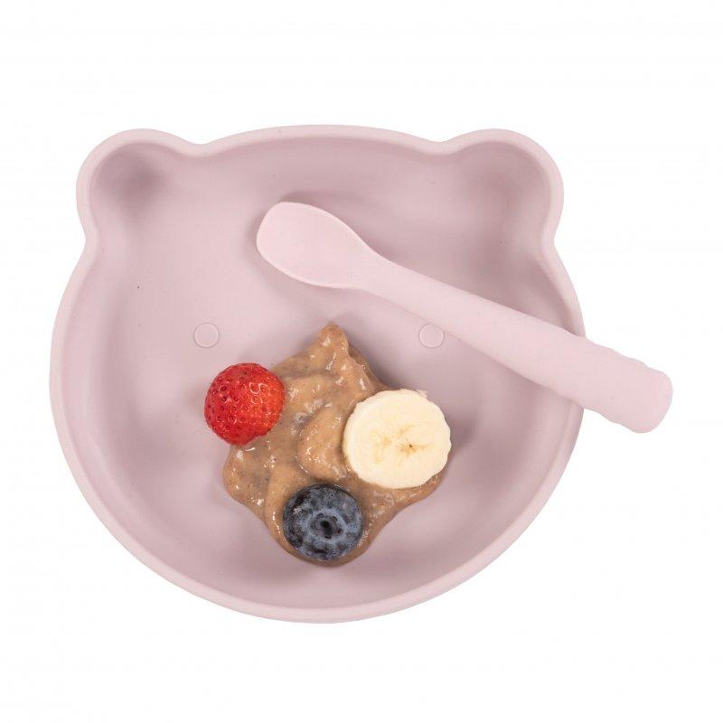 Bo Jungle silikonový talíř s přísavkou Bear Pastel Pink