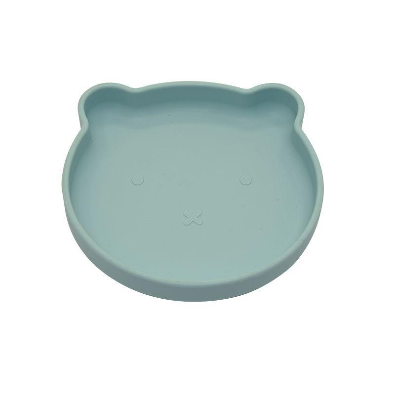 Bo Jungle silikonový talíř s přísavkou Bear Pastel Blue
