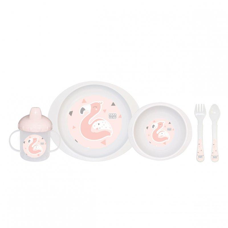 Saro Baby jídelní sada Jungle Party Flamingo